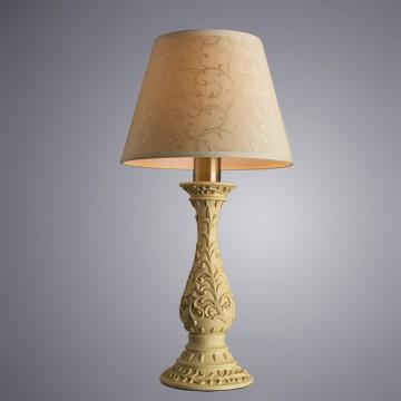 Настольная лампа Arte Lamp Ivory A9070LT-1AB, 1xE27x40W, бронза, бежевый, металл, пластик, текстиль