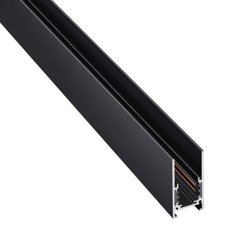 Шинопровод в сборе с питанием и заглушкой Novotech Flum 135093, черный, металл