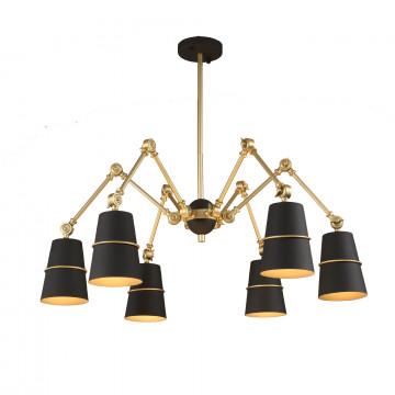 Потолочная люстра с регулировкой направления света ST Luce Sorspreso SL458.422.06, 6xE14x40W, черный, матовое золото, металл