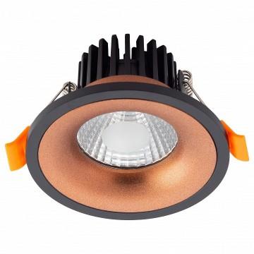 Встраиваемый светодиодный светильник Denkirs DK4002-CF, LED 5W 3000K 560lm, матовое золото, черный, металл