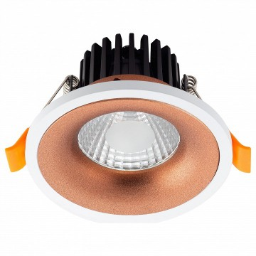 Встраиваемый светодиодный светильник Denkirs DK4004-CF, LED 5W 3000K 560lm, белый, матовое золото, металл