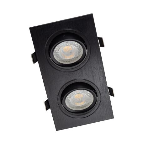 Встраиваемый светильник Denkirs DK3022-BK, 2xGU5.3x10W, черный, пластик