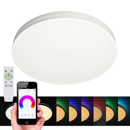 Музыкальный светодиодный светильник с пультом ДУ Omnilux Melofon OML-47327-48, LED 48W 3000-6500K + RGB 2640lm, белый, металл с пластиком, пластик с металлом