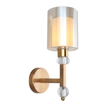 Светильник Omnilux Maranello OML-80001-01, 1xE27x40W, бронза с прозрачным, янтарь, металл с хрусталем, стекло