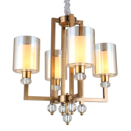 Светильник Omnilux Maranello OML-80003-04, 4xE27x40W, бронза с прозрачным, янтарь, металл с хрусталем, стекло