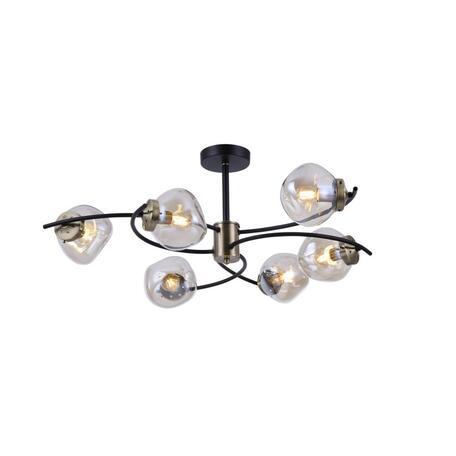 Светильник Omnilux Moncalvo OML-95307-06, 6xE14x5W, черный с бронзой, дымчатый, металл, стекло