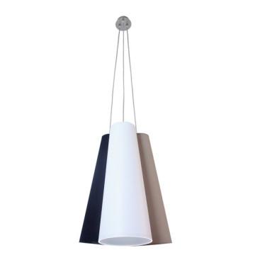Подвесная люстра Topdecor Trio S2 01/02/07, 3xE14x40W, никель, белый, серый, черный, металл, текстиль