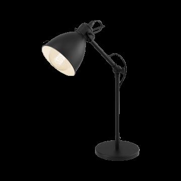 Настольная лампа Eglo Priddy 49469, 1xE27x40W, черный, металл