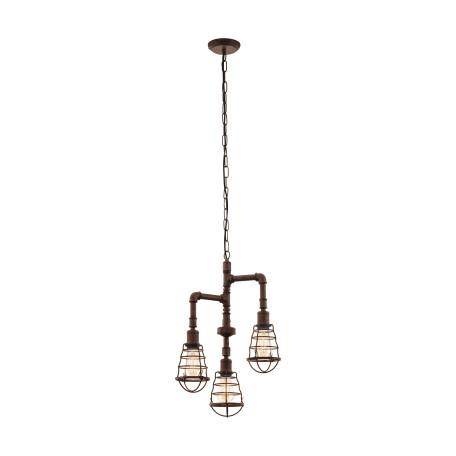 Подвесная люстра Eglo Trend & Vintage Industrial Port Seton 49808, 3xE27x60W, коричневый, металл