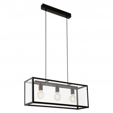 Подвесной светильник Eglo Trend & Vintage Industrial Charterhouse 49393, 3xE27x60W, черный, прозрачный, металл, стекло с металлом