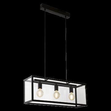 Подвесной светильник Eglo Charterhouse 49393, 3xE27x60W, черный, прозрачный, металл, стекло