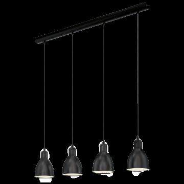 Подвесной светильник Eglo Trend & Vintage Industrial Priddy 49466, 4xE27x60W, черный, металл