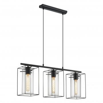Подвесной светильник Eglo Trend & Vintage Industrial Loncino 49496, 3xE27x60W, черный, прозрачный, металл, металл со стеклом