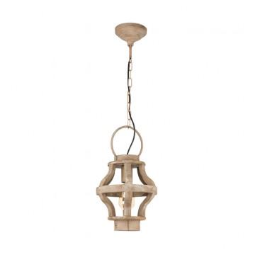 Подвесной светильник Eglo Kinross 49726, 1xE27x60W, коричневый, металл, дерево