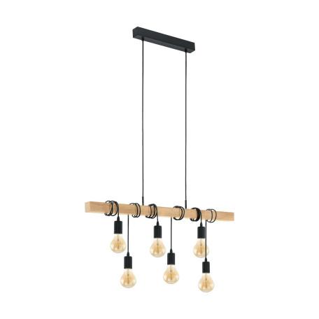 Подвесной светильник Eglo Trend & Vintage Industrial Townshend 95499, 6xE27x60W, коричневый, черный, дерево