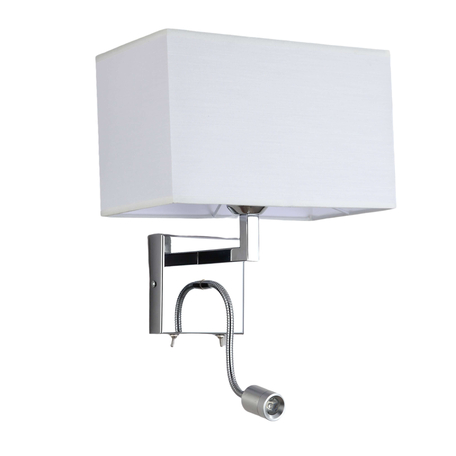 Бра с дополнительной подсветкой Lumina Deco Dotti LDW 6050-2 WT, 1xE27x40W + LED, хром, белый, металл, текстиль