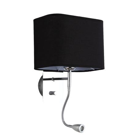 Бра с дополнительной подсветкой Lumina Deco Boddi LDW 6051-2 BK, 1xE27x40W + LED, хром, черный, металл, текстиль