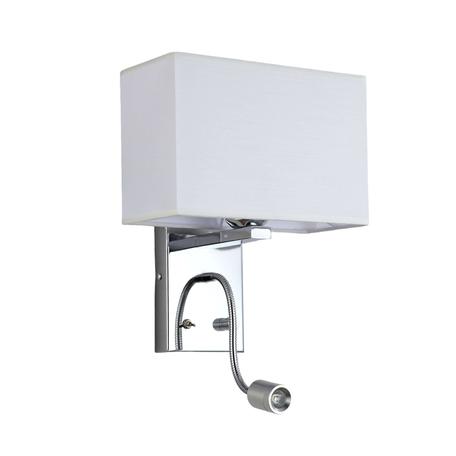 Бра с дополнительной подсветкой Lumina Deco Kasni LDW 6053-2 WT, 1xE27x40W + LED, хром, белый, металл, текстиль