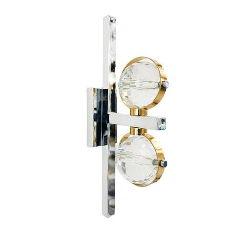 Настенный светодиодный светильник Lumina Deco Kompass LDW 6064-2 CHR, LED, хром, золото, прозрачный, металл, металл со стеклом