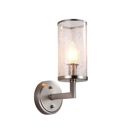Настенный светильник Lumina Deco Howard LDW 8040-1 NK, 1xE27x40W, никель, прозрачный, металл, стекло