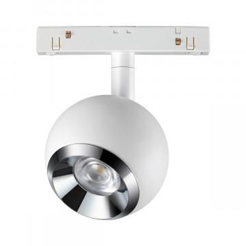 Светодиодный светильник с регулировкой направления света для шинной системы Novotech Flum 358394, LED 10W 4000K 850lm, белый, металл