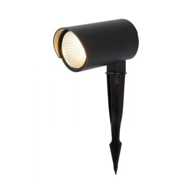 Светодиодный прожектор с колышком Lucide Manal 27897/12/29, IP65, LED 12W 3000K 988lm CRI80, серый, металл