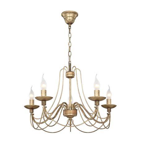 Подвесная люстра Favourite F-Promo Chateau 2163-5P, 5xE14x40W, коричневый с золотой патиной, металл, ковка
