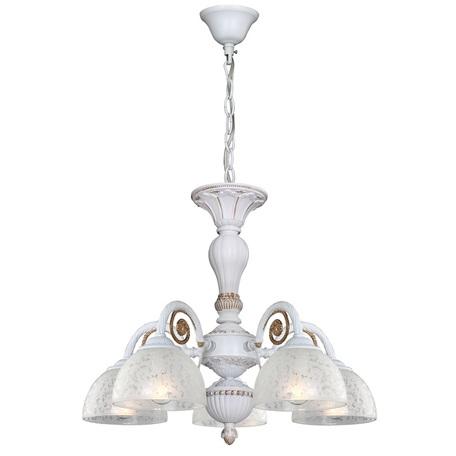 Потолочно-подвесная люстра Favourite F-Promo Baroque 2152-5PC, 5xE14x40W, белый, матовое золото, металл, стекло