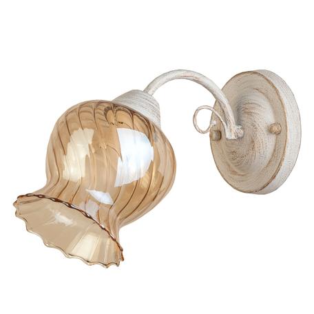 Бра Toplight Miranda TL5690D-01WG, 1xE14x60W, белый с золотой патиной, янтарь, металл, стекло