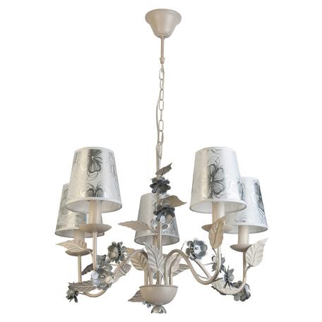 Подвесная люстра Toplight Madlyn TL5630D-05WH, 5xE14x40W, белый, белый с серебром, серебро с белым, металл, текстиль