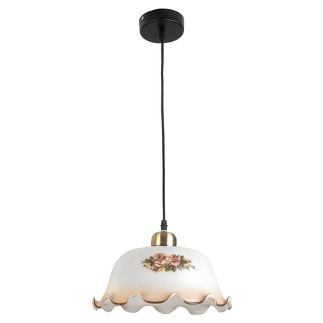 Подвесной светильник Toplight Caren TL4310D-01AB, 1xE27x60W, черный с бронзой, белый с розовым, розовый с белым, металл, стекло