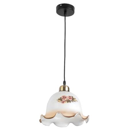 Подвесной светильник Toplight Caren TL4311D-01AB, 1xE27x60W, черный с бронзой, белый с розовым, розовый с белым, металл, стекло