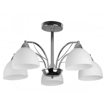 Потолочная люстра Toplight Celia TL3610X-05CH, 5xE27x60W, хром, белый, металл, стекло