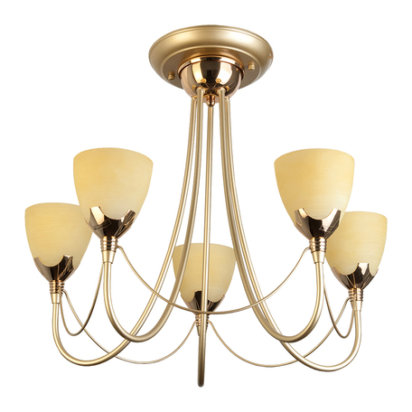Потолочная люстра Toplight Lucia TL3630X-05MG, 5xE14x60W, матовое золото, бежевый, металл, стекло