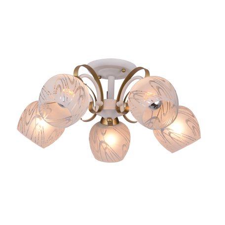 Потолочная люстра Toplight Samantha TL3690X-05WG, 5xE27x40W, белый с золотом, белый, металл, стекло