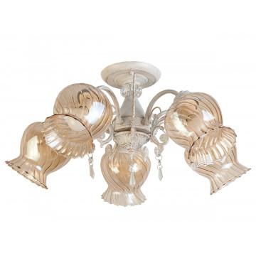 Потолочная люстра Toplight Miranda TL5690D-05WG, 5xE14x60W, белый с золотой патиной, янтарь, прозрачный, металл, стекло