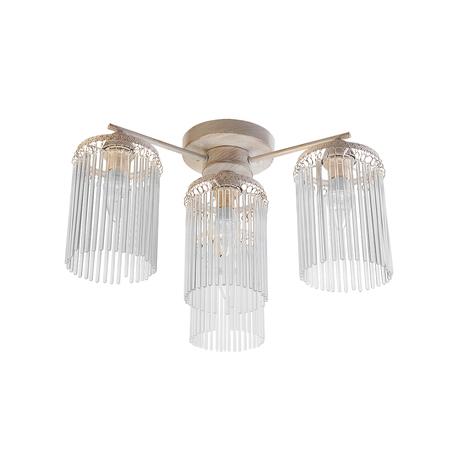 Потолочная люстра Toplight Ursula TL7170X-04WG, 4xE14x40W, белый с золотой патиной, прозрачный, металл, стекло