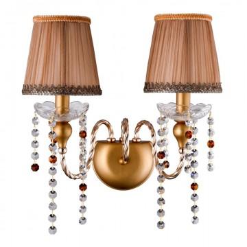 Бра Crystal Lux ALEGRIA AP2 GOLD-BROWN 1041/402, 2xE14x60W, золото, матовое золото, прозрачный, коричневый, янтарь, металл, хрусталь, текстиль