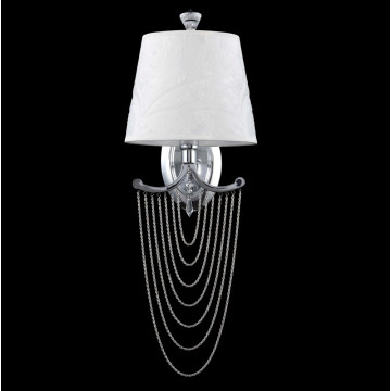 Бра Crystal Lux FOGGIA AP1 1800/401, 1xE14x40W, хром, белый, металл, текстиль, металл с хрусталем