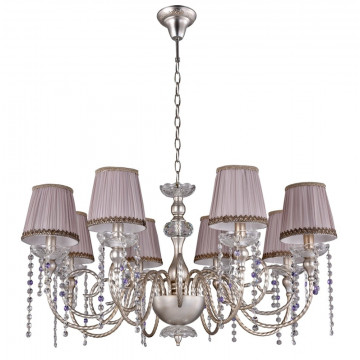 Подвесная люстра Crystal Lux ALEGRIA SP8 SILVER-BROWN 1040/308, 8xE14x60W, прозрачный, серебро, сиреневый, фиолетовый, металл, стекло, текстиль, хрусталь