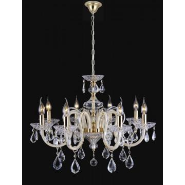 Подвесная люстра Crystal Lux DALIA SP8 1510/308, 8xE14x60W, золото, бежевый, прозрачный, стекло, хрусталь
