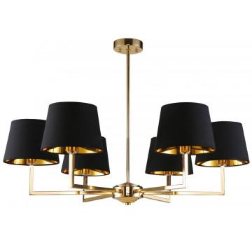Потолочная люстра Crystal Lux CONTE SP6 1420/306, 6xE14x60W, золото, черный, металл, текстиль