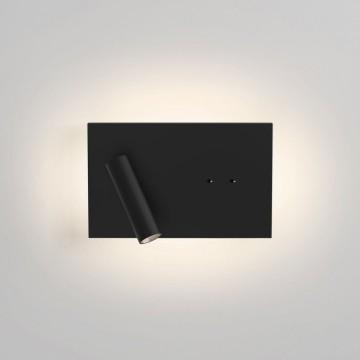 Настенный светодиодный светильник с регулировкой направления света с дополнительной подсветкой Astro Edge Mini 1352019 (8409), LED 13,8W 2700K 261lm CRI80, черный, металл