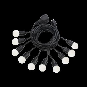 Гирлянда Ideal Lux Fiesta SP10 246796, IP44, 10xE27x15W, черный, пластик