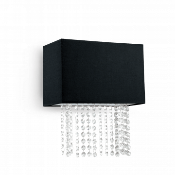 Бра Ideal Lux PHOENIX AP2 NERO 113715, 2xE14x40W, хром, черный, прозрачный, металл, текстиль, хрусталь