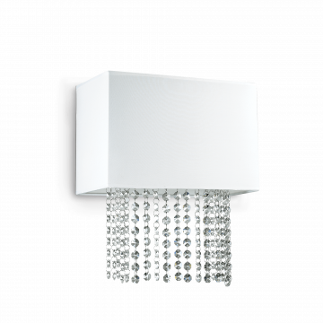 Бра Ideal Lux PHOENIX AP2 BIANCO 115696, 2xE14x40W, хром, белый, прозрачный, металл, текстиль, хрусталь