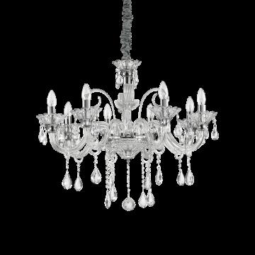 Подвесная люстра Ideal Lux COLOSSAL SP8 TRASPARENTE 114187, 8xE14x40W, прозрачный, хром, металл, стекло