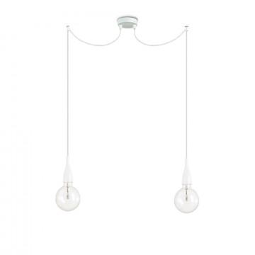 Подвесной светильник Ideal Lux MINIMAL SP2 BIANCO OPACO 112718, 2xE27x60W, белый, металл