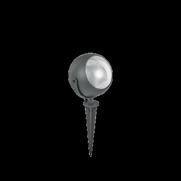Прожектор с колышком Ideal Lux ZENITH PT1 SMALL ANTRACITE 108407, IP65, 1xGU10x11W, серый, прозрачный, металл, пластик