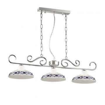 Подвесная люстра Ideal Lux BASSANO SB3 116204, 3xE14x40W, хром, белый, синий, металл, керамика